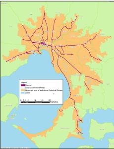 Rail lines in Melbourne metropolitan area